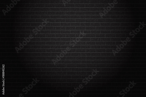 Vector realistic isolated black brick wall background for decoration and covering. - 188845262