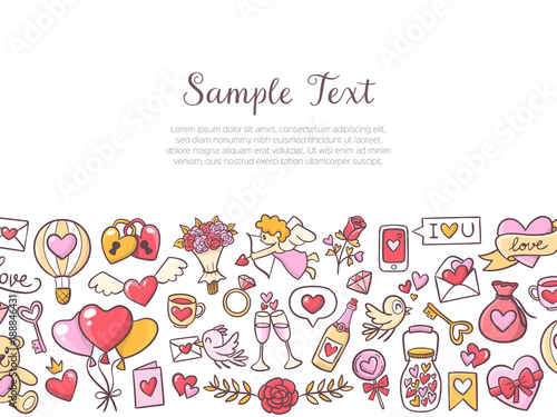Background Template For Valentines Day Celebration With Lovely Elements And Sample Text Collection Of Isolated