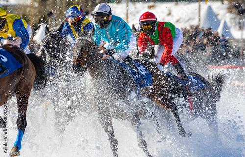 Foto op Canvas Paardrijden Engadina - Suisse - White Turf