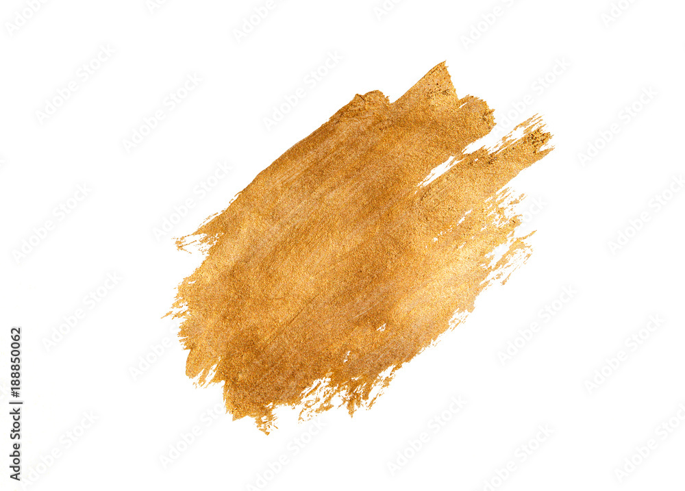 Fototapety, obrazy: Abstract golden brushstroke on white background