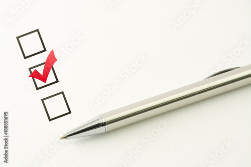 survey template questionnaire choice marked check box with a pen