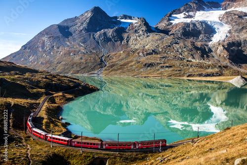 Fotografie, Obraz  train in the scenic swiss alps around bernina and moteratsch glacier