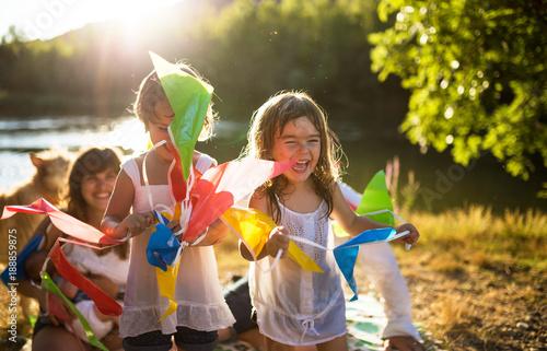 Children with flags garland