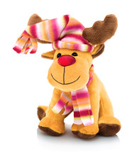 The Red-Nosed Reindeer. The Red-Nosed Reindeer Doll Isolated On White Background With Shadow Reflection. Plush Stuffed Puppet On White Backdrop. Reindeer Plushie Toy. Santa Claus's Reindeer.
