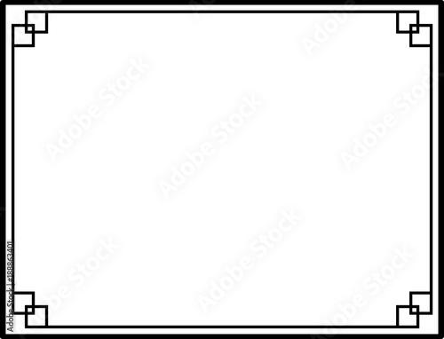 Photo  Black and White Decorative Line Border Frame