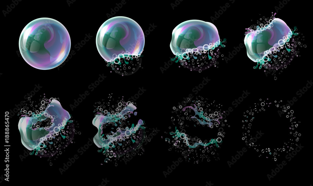 Fototapeta Vector 3d soap transparent bubble stages of the explosion. Water spheres, realistic balls, soapy balloons, soapsuds. Glossy foam aqua, realistic bright abstract illustration.