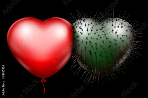 Red Glossy Heart And Green Spiked Heart As A Symbol Of Unbreakable