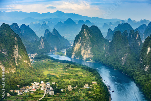 Foto op Canvas Guilin Landscape of Guilin, Li River and Karst mountains. Located near The Ancient Town of Xingping, Yangshuo, Guangxi, China.
