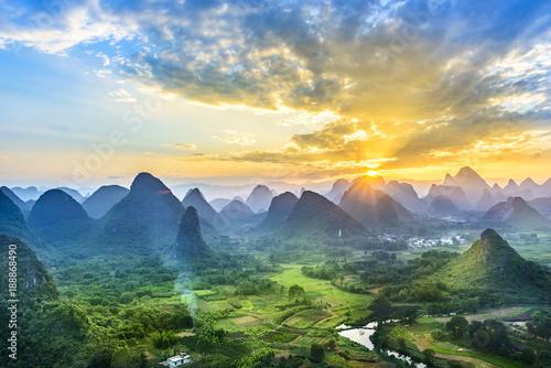 Landscape of Guilin, Li River and Karst mountains Wallpaper Mural