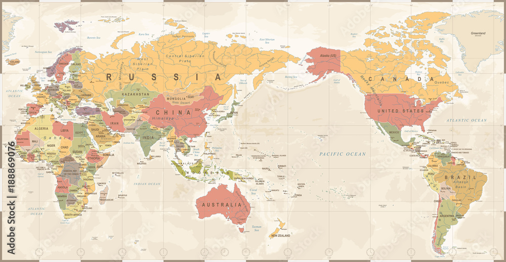 World Map Vintage Old Retro - Asia in Center Foto, Poster ...
