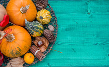 Pumpkin And Autumn Leaves, Fruits Of Fall, On Wooden Table, Decoration