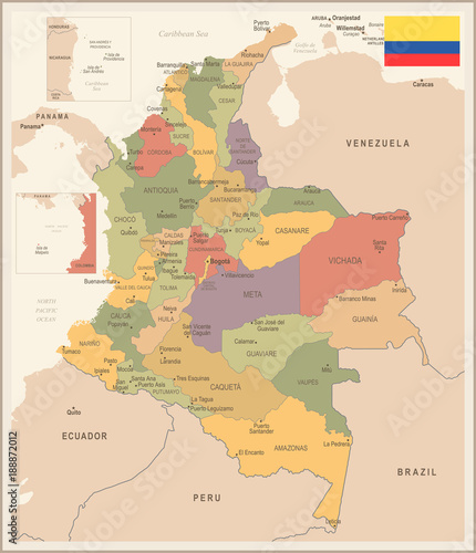 Fotografie, Tablou  Colombia - vintage map and flag - Detailed Vector Illustration
