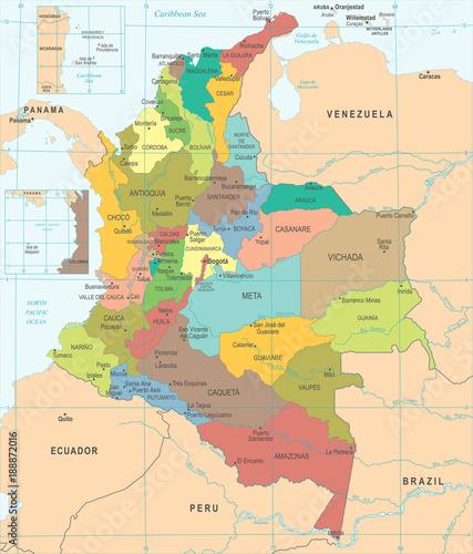 Fotografie, Obraz  Colombia Map - Detailed Vector Illustration