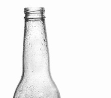 Transparent Glass Beer Bottle Neck Closeup, With Water Droplets, Isolated On White