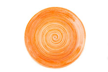Orange Round Ceramic Plate Wit...