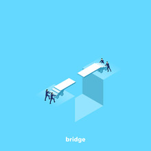 People In Business Suits Try To Bridge The Gap, Isometric Image