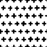 Vector hand drawn seamless cross pattern. Black and white ink background. Design for fashion textile print. - 188881004