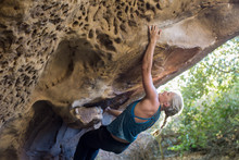 Strong Woman Bouldering In San...