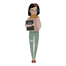 Nerdy Young Woman Holding Book...