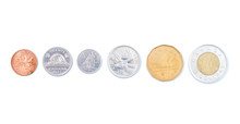 Canadian Coins On A White Background