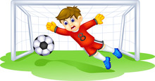 Cute Goalkeeper Cartoon In Act...