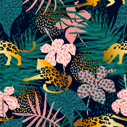 Tuinposter Vlinders Trendy seamless exotic pattern with palm and animal prints.