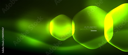 Photo Neon hexagon background