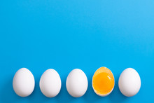 White Eggs Is Laying In Row, O...