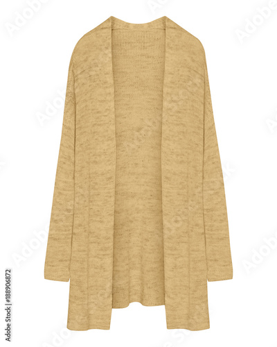 Cuadros en Lienzo  Classic beige cardigan long unbuttoned sweater isolated on white