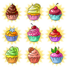 Vector Pop Art Tasty Cupcake P...
