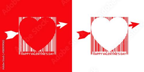 Icono plano codigo de barras HAPPY VALENTINES DAY con corazon rojo y blanco Wallpaper Mural
