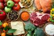 Leinwanddruck Bild - sfondo cibo, tavolo con prodotti alimentari ,per alimentazione e dieta completa