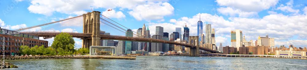 New York City Brooklyn Bridge panorama with Manhattan skyline