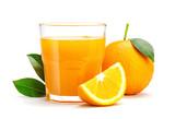 Glass of fresh orange juice isolate on white background, Fresh fruits Orange juice in glass with group of orange on white