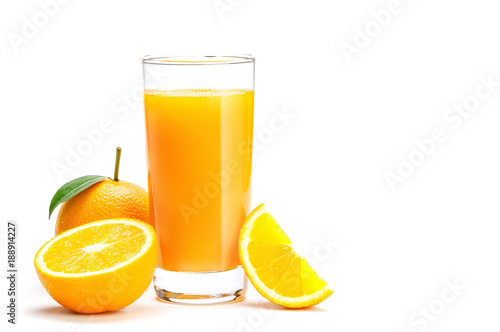 Foto op Canvas Sap Glass of fresh orange juice isolate on white background, Fresh fruits Orange juice in glass with group of orange on white