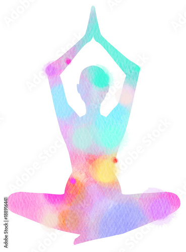 Photo  Watercolor yoga silhouette on white background