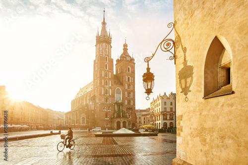 Fototapeta Krakow Market Square and St. Mary's Basilica obraz