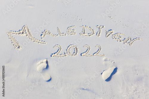 Poster  Malediven Strandtext 2022