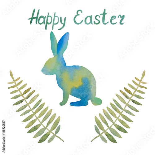 Deurstickers Geometrische dieren Beautiful postcard with a rabbit and leaves and wishes of a happy easter painted with watercolor on a white background