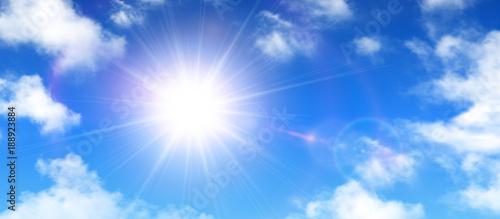Fototapeta Sunny background, blue sky with white clouds and sun obraz na płótnie
