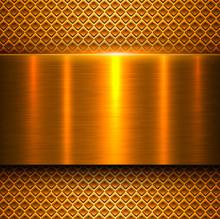 Metal Background, Orange Gold Polished Metallic Texture Banner