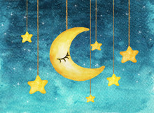 Yellow Moon And Stars Hanging From Strings Painted In Watercolor On White Isolated Background, Night Sky Background.