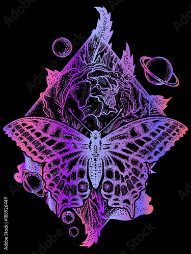 b3881dd1b68c8 Butterfly, rose, and universe poster, geometrical style. Beautiful  Swallowtail boho t-shirt design. Mystical symbol of freedom, nature,  tourism.