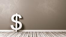 Dollar Sign On Wooden Floor Ag...