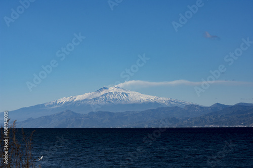 Fototapeta Landscape of ETNA MOUNT WITH SNOW