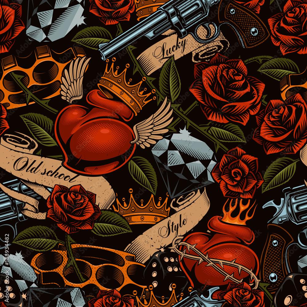 Fototapeta Old school tattoo pattern