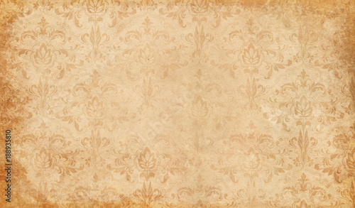 Poster Retro Old paper with floral patterns background.