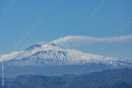 Fotografering  Landscape of ETNA MOUNT WITH SNOW