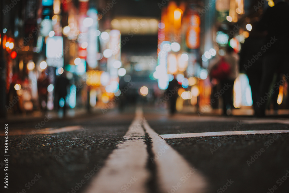 Fototapety, obrazy: Macro view of a street in Tokyo at night time, street photography