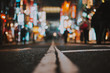 canvas print picture - Macro view of a street in Tokyo at night time, street photography
